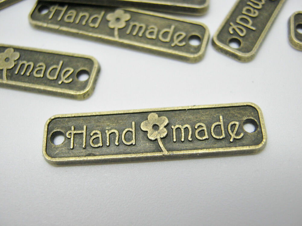 "10 Handmade Label Metal Tags 25mm (1"") Bronze Connector"