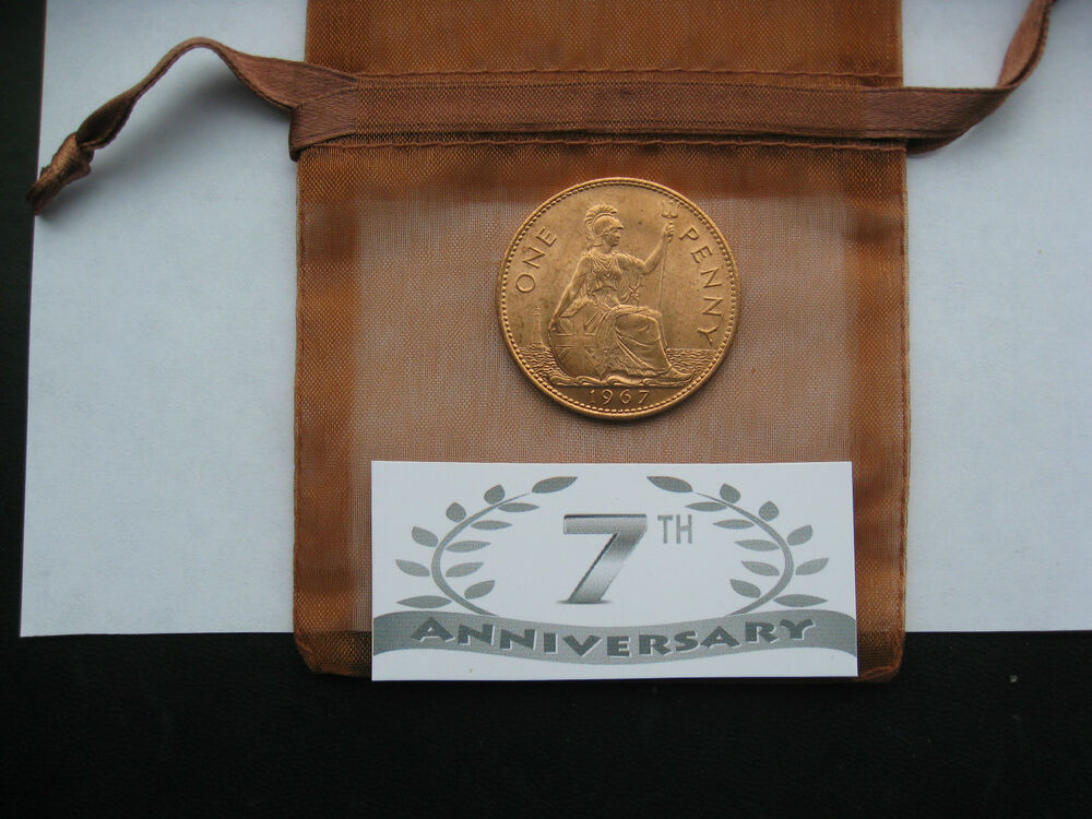 7th Copper Anniversary Gift Uncirculated Penny Or
