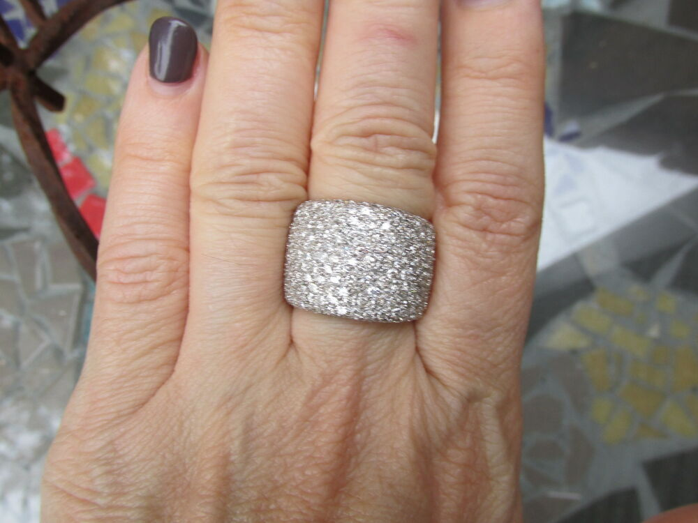 18 KT White Gold Pave Diamond Cigar Band Design Wide Ring