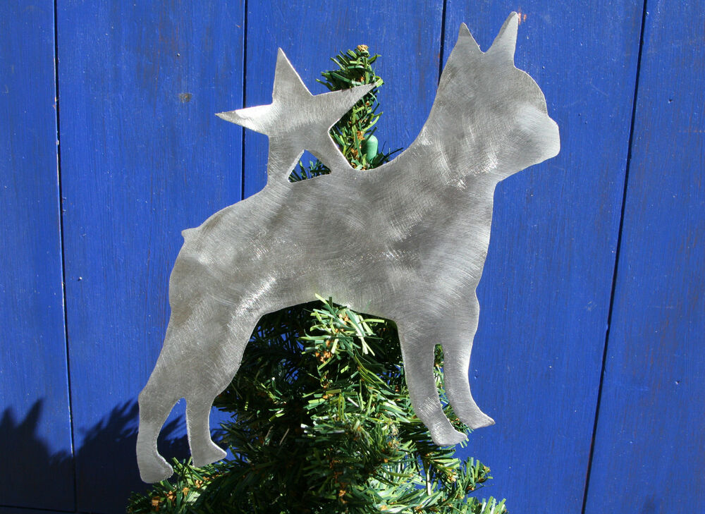 Boston Terrier With Star Tree Topper Holiday Decoration