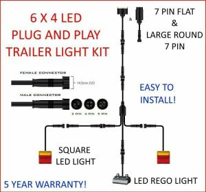 6x4 TRAILER LED WIRE KIT EASY TO INSTALL PLUG AND PLAY