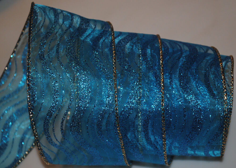 Sheer Wired RibbonBlue Sparkle WaveGoldChristmas