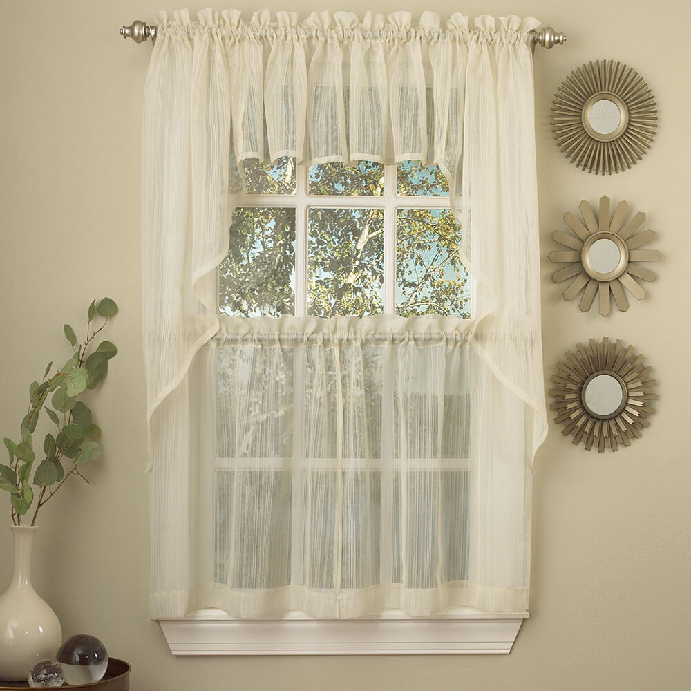 Harmony Ivory Micro Stripe Semi Sheer Kitchen Curtains Tier Or Valance Or Swag EBay