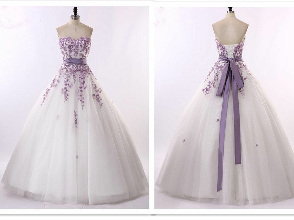 White And Purple Wedding Dresses Bridal Gowns Size 6-8-10