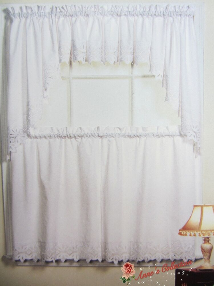 Beautiful Embroidered Lace Kitchen CurtainSwagampTiersWhiteClassic Design EBay