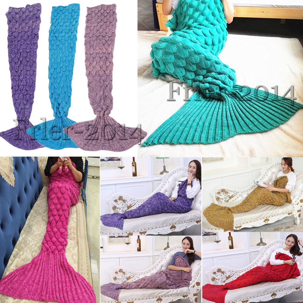 Crocheted Fish Scale Mermaid Tail Blanket Cocoon Knit Lapghan Quilt Kids Amp Adult EBay
