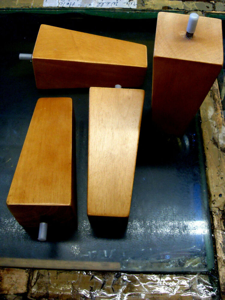 8 Blond Finish Square Tapered Pyramid Wooden Sofa Legs Set Of 4 EBay