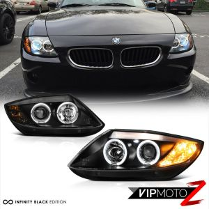 20032008 BMW Z4 Coupe Roadster MPower Black Angel Eye Halo Headlights Headlamp 7425935389397