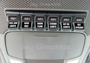Custom Upfitter Switch Decals  Labels Ford F250 F350