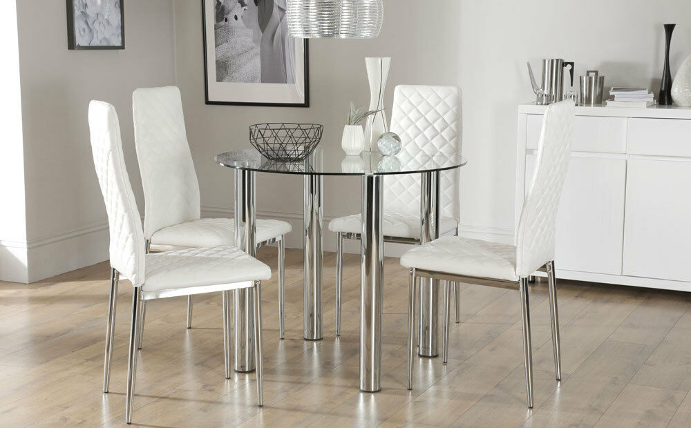 Solar & Renzo Glass & Chrome Dining Table And 4 Chairs Set