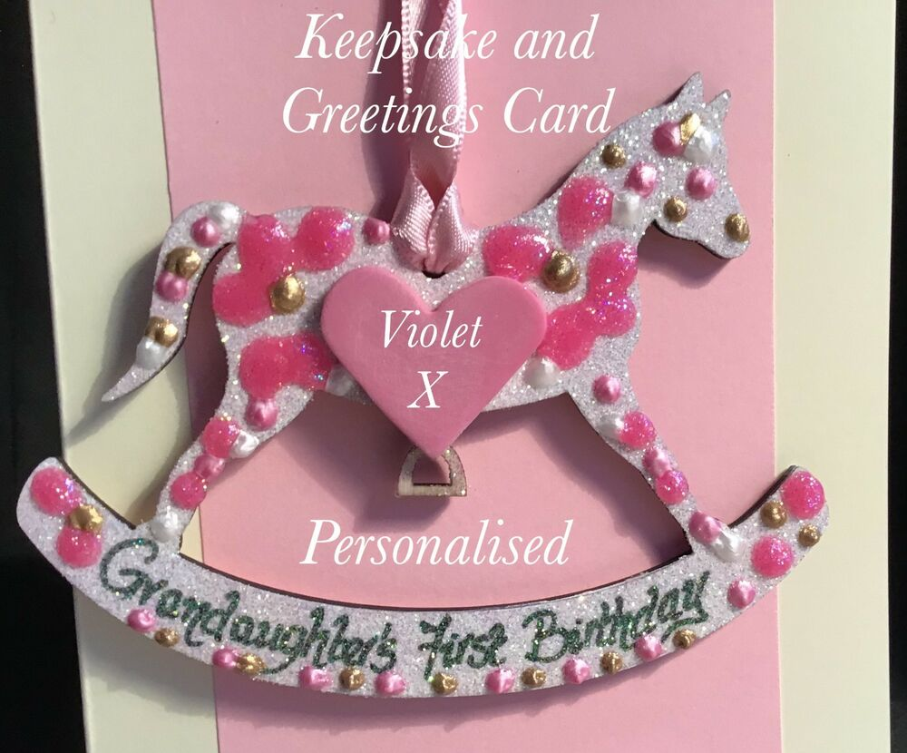 Greeting Cards Party Supply Grandaughter 1st Birthday Rocking Horse Gift Personalised On A Greetings Card Other Gift Party Supplies