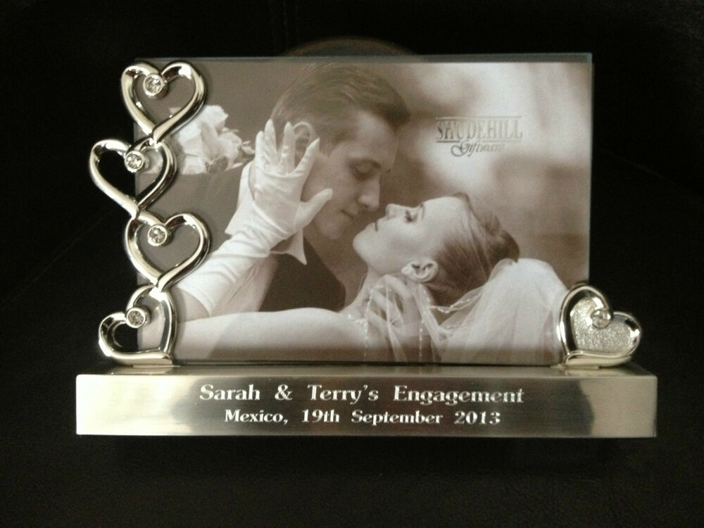 Personalised Engraved Silver Hearts Photo Frame 6 X 4