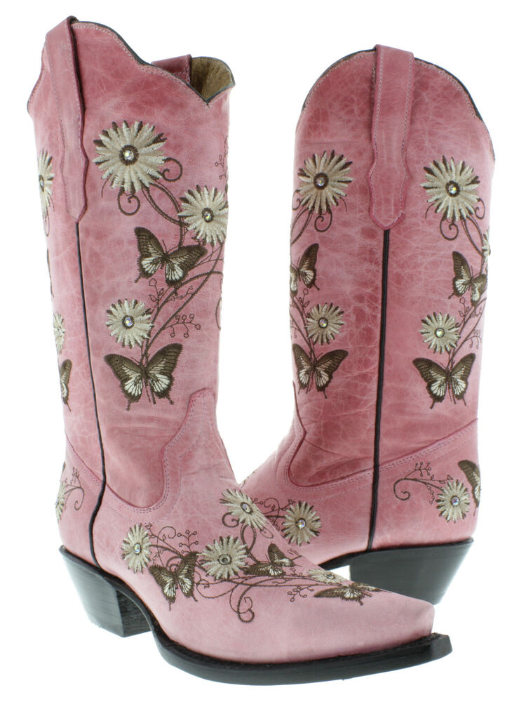 Cowgirl Boots Black Flowers