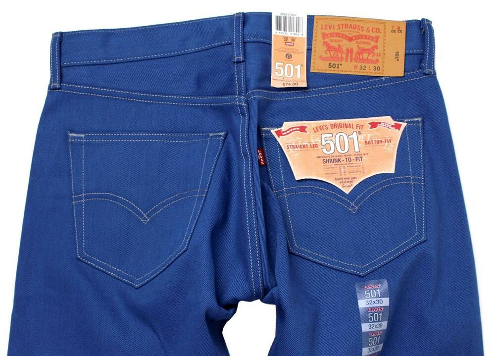 NEW LEVIS 501 MENS ORIGINAL FIT STRAIGHT LEG JEANS BUTTON FLY BLUE 501 1435 EBay