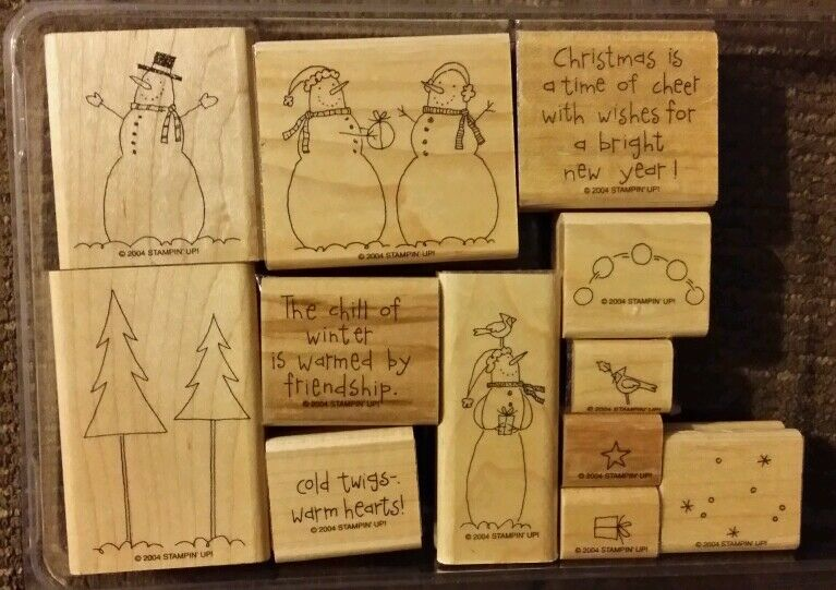 Stampin Up ITS SNOW TIME Set Of 12 Mounted Rubber Stamps