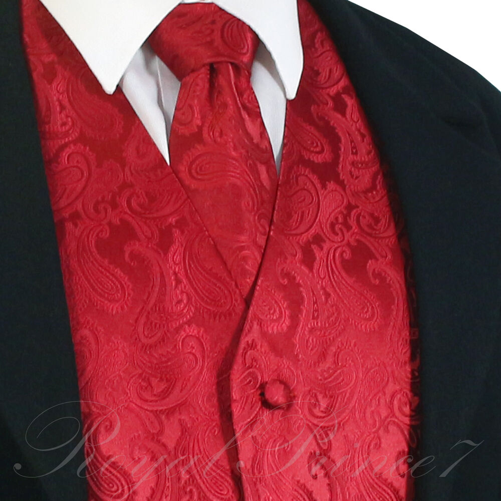 Black And Red Tuxedo Red Tie Vest