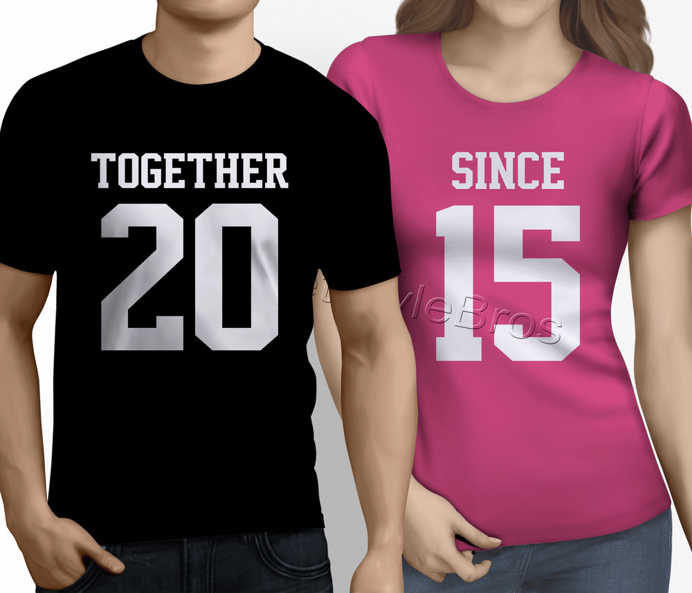 TOGETHER SINCE ANY YEAR His Hers Couple T Shirts Husband