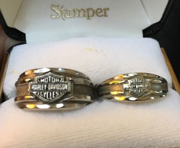 Mens Amp Womans Matching Solid 10k White Gold Harley