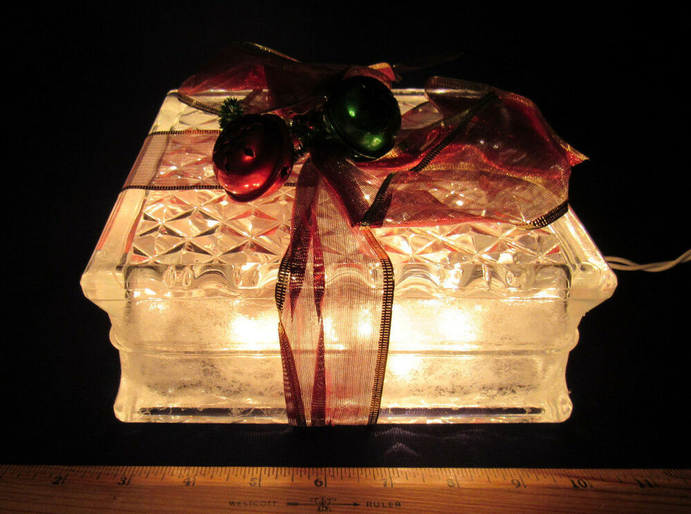 VINTAGE LIGHT UP GLASS CHRISTMAS PRESENT BOWS BELLS GLASS