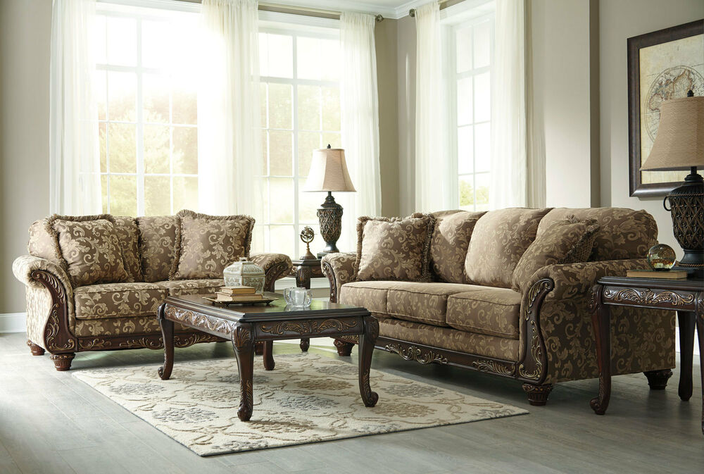 Traditional Wood Trim Tan Fabric Sofa Couch Set