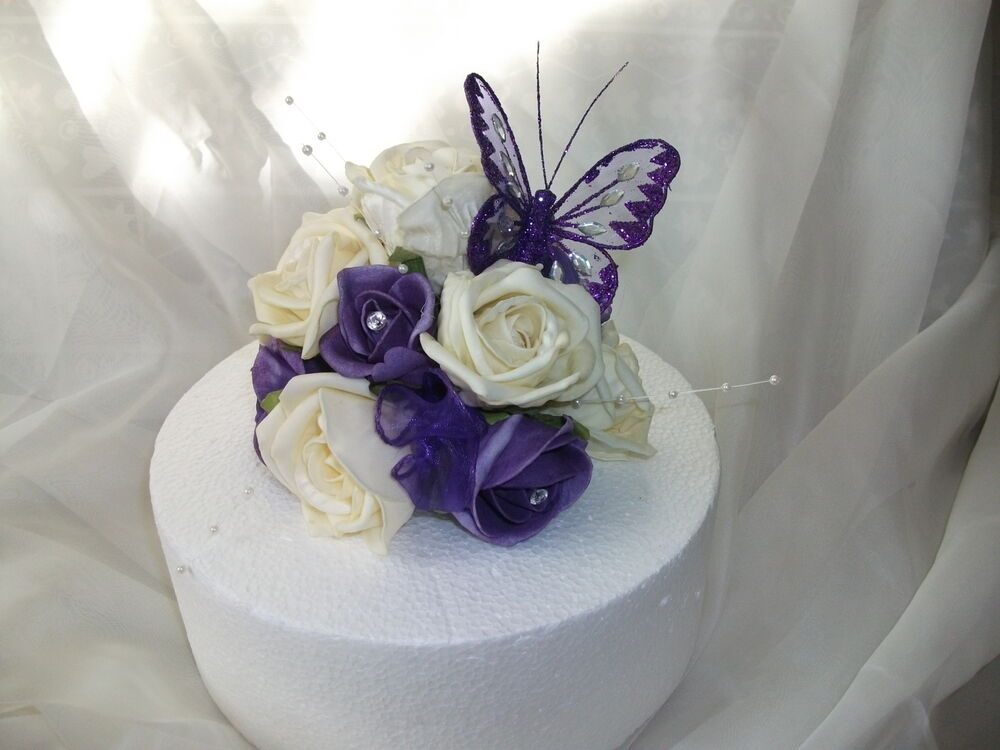 WEDDING FLOWER CAKE TOPPER, Cadburys Purple And Ivory With