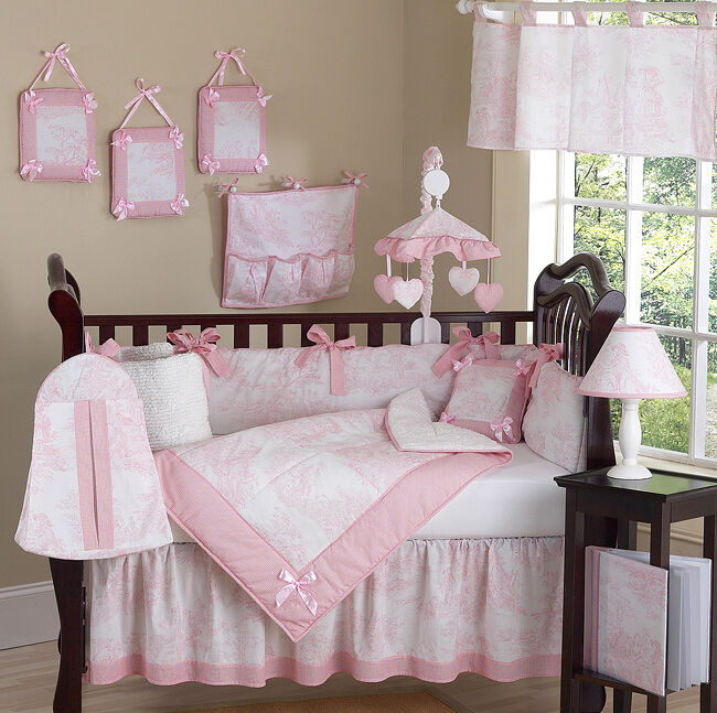 Luxury Boutique French Pink White Toile Discount 9pc Baby