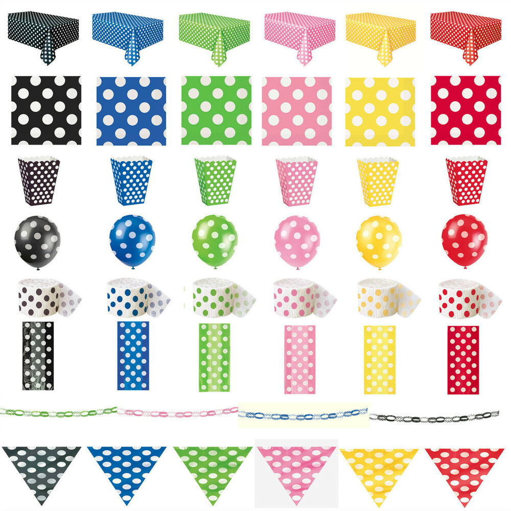 Yellow And White Polka Dot Party Supplies