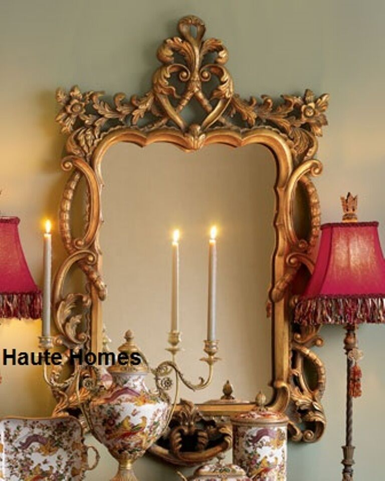 NEW Horchow LARGE 48 VICTORIAN FLORAL Scroll ORNATE Wall VANITY Mirror Gold EBay