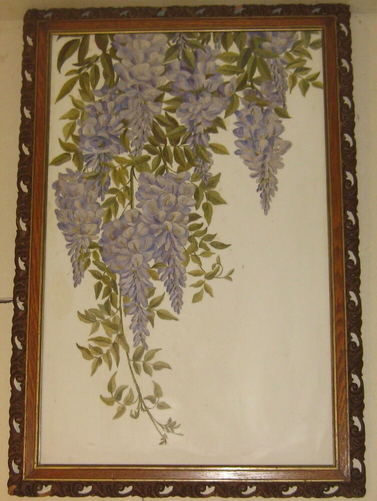 Antique Hanging Wisteria Vine Oil Painting On Milk Glass