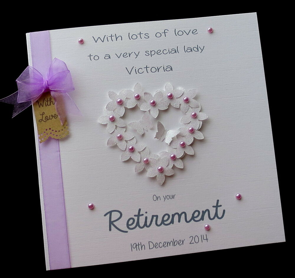 LARGE 8 Sq Handmade Personalised Retirement FlowerHeart