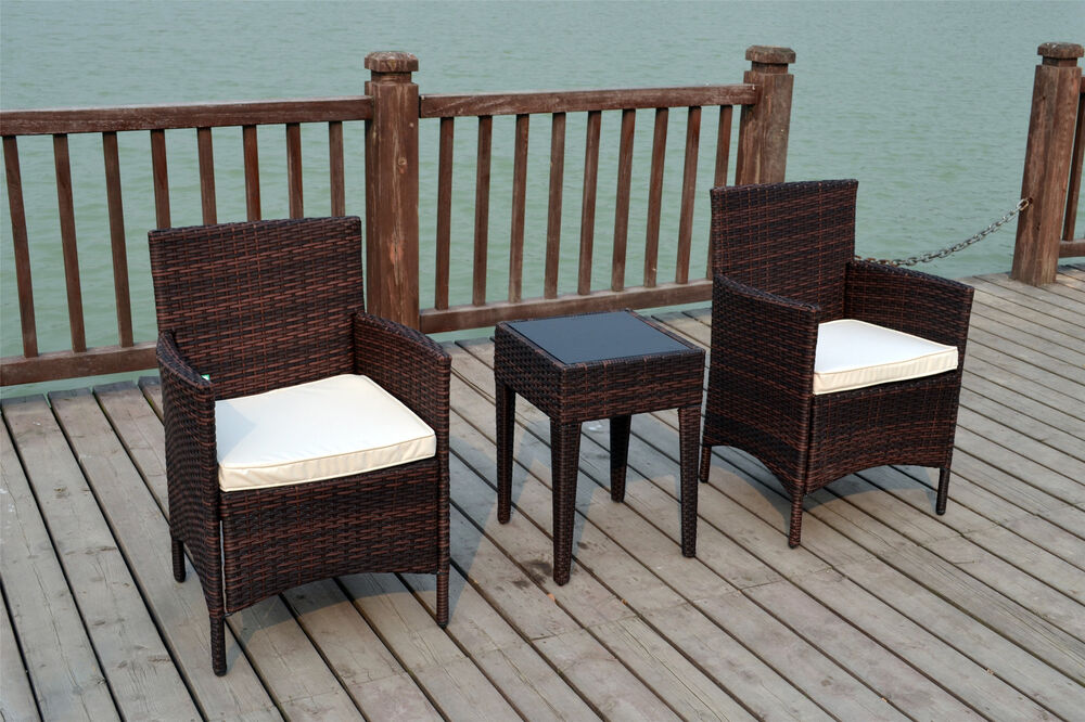 BISTRO 2 SEATER CHAIRS RATTAN WICKER CONSERVATORY OUTDOOR