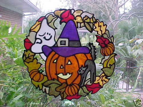 Fall Amp Halloween Wreath Duo Stained Glass Window Cling EBay