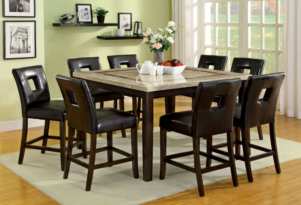 Square Marble Top Dining Table Amp 8 Side Chairs 9pc Counter