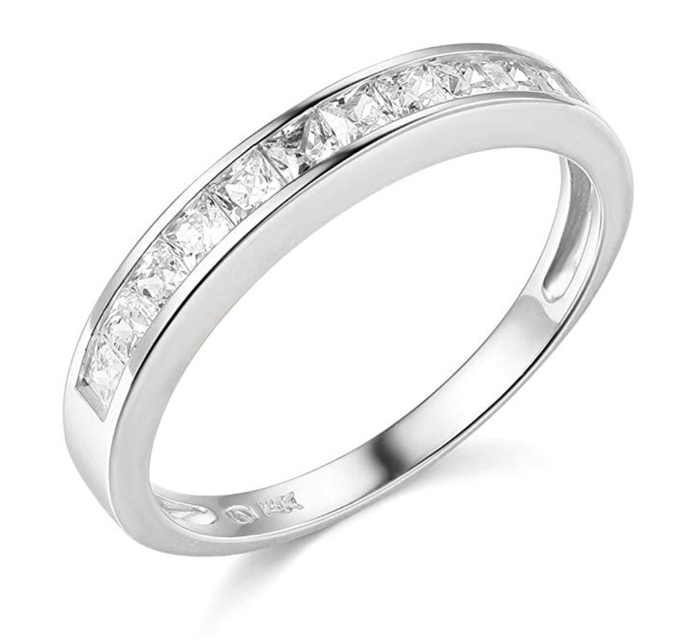 1 Ct Princess Cut Real 14k White Gold Engagement Wedding
