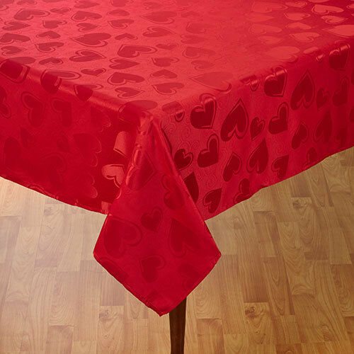 VALENTINES DAY HEARTS RED TABLECLOTH 60 X 84 Oval