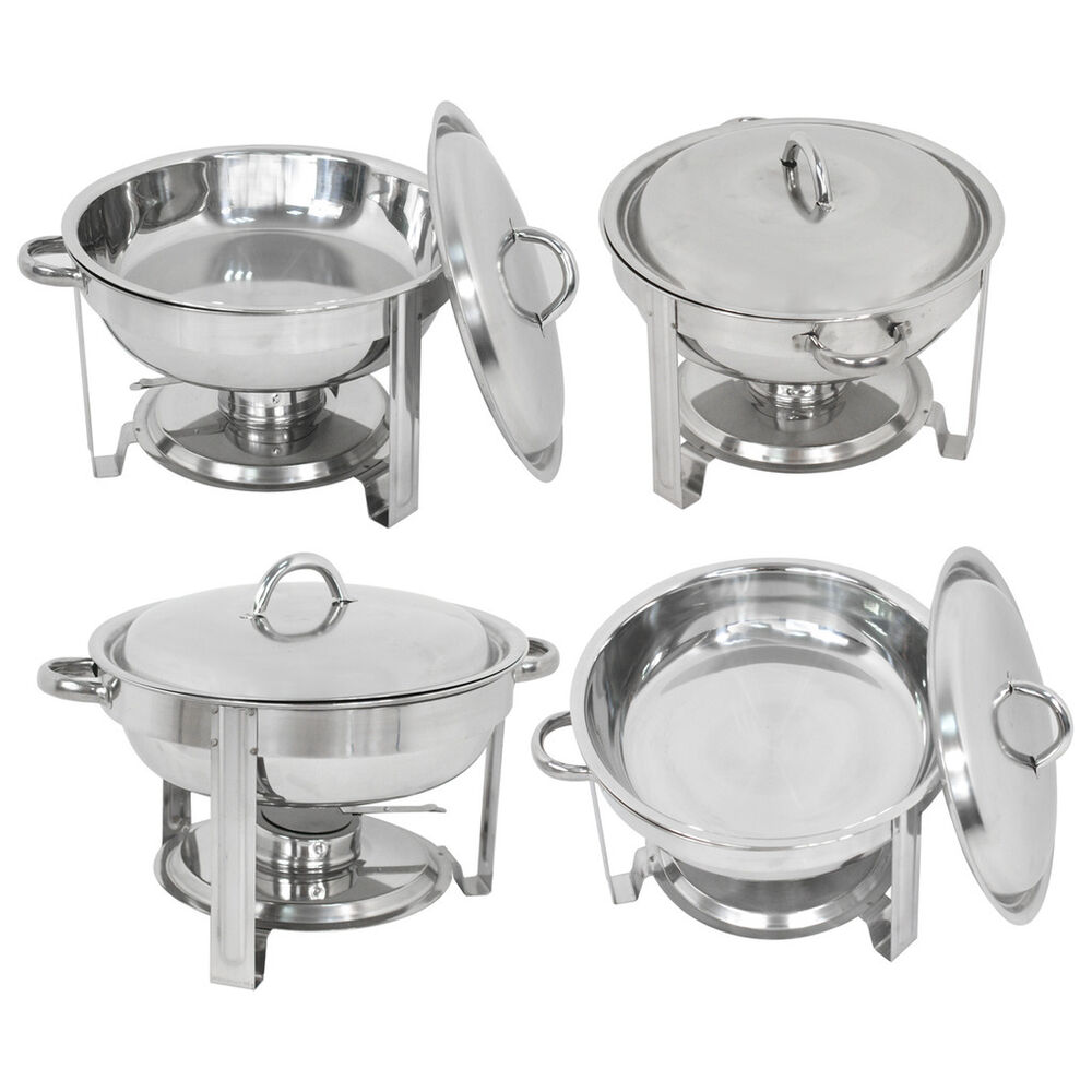 4 Pack Buffet Catering Stainless Steel Chafer Round