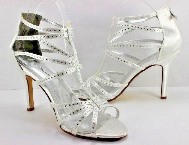 NEW Davids Bridal Heels Shoes Vienna White Silver Satin Rhinestones Back Zip 10M | eBay