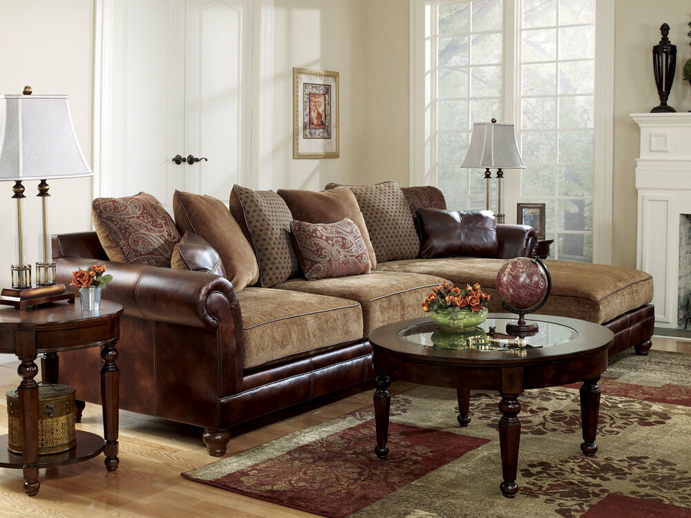 OLD WORLD FAUX LEATHER & CHENILLE SOFA COUCH