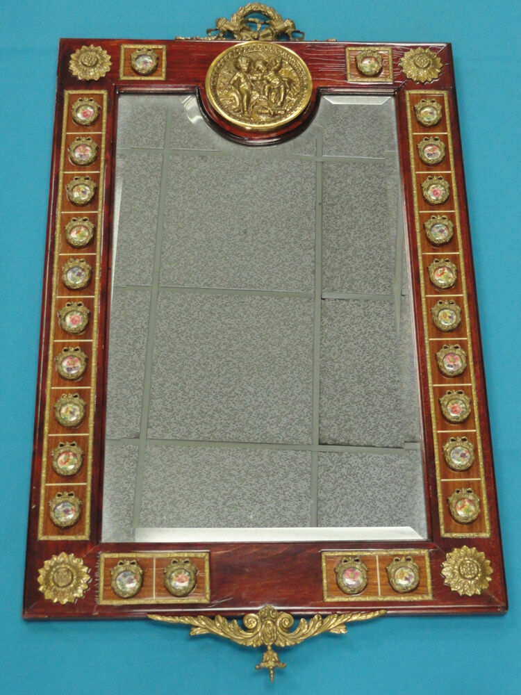 ITALIAN WOOD FRAME MIRROR With BEVELED GLASS, PORCELAIN