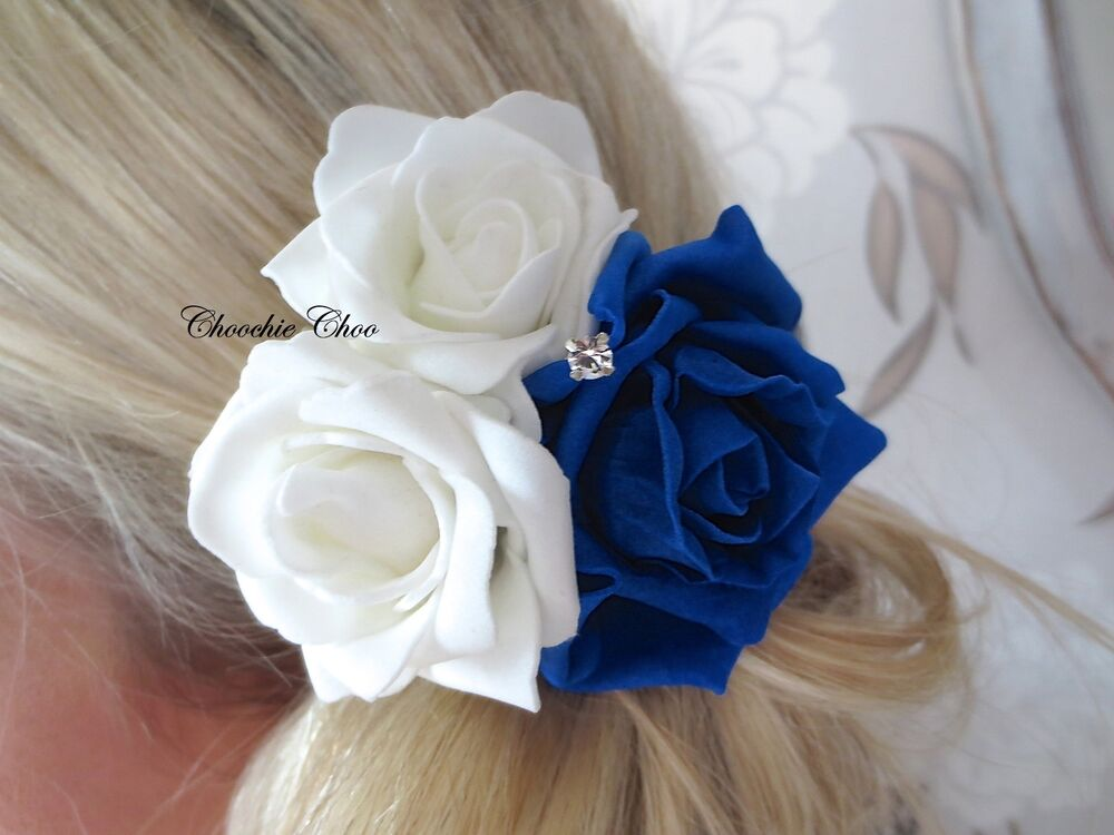 Cobalt Royal Blue White Rose Diamante Flower Corsage Hair