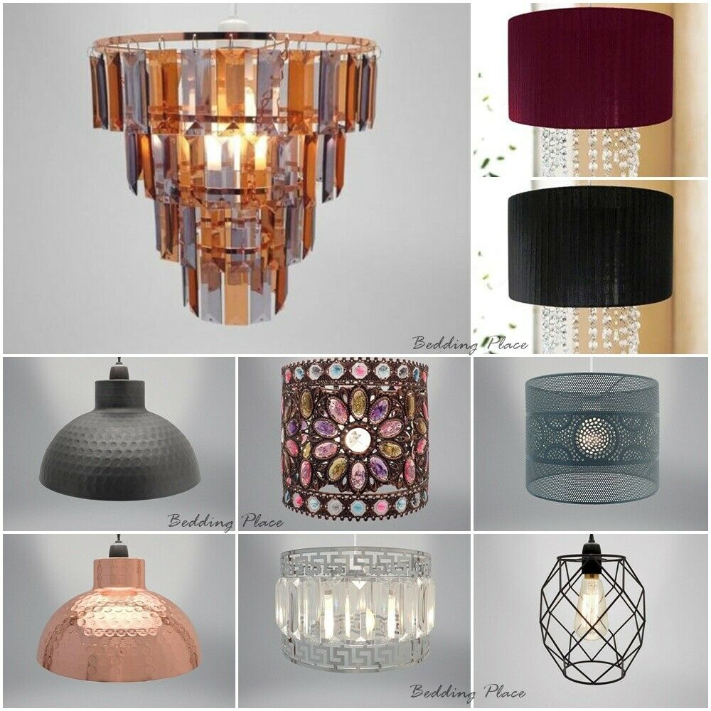 Easy Fit Chandelier Chic Ceiling Pendant Light Shade Crystal Amp Fabric Ribbon EBay