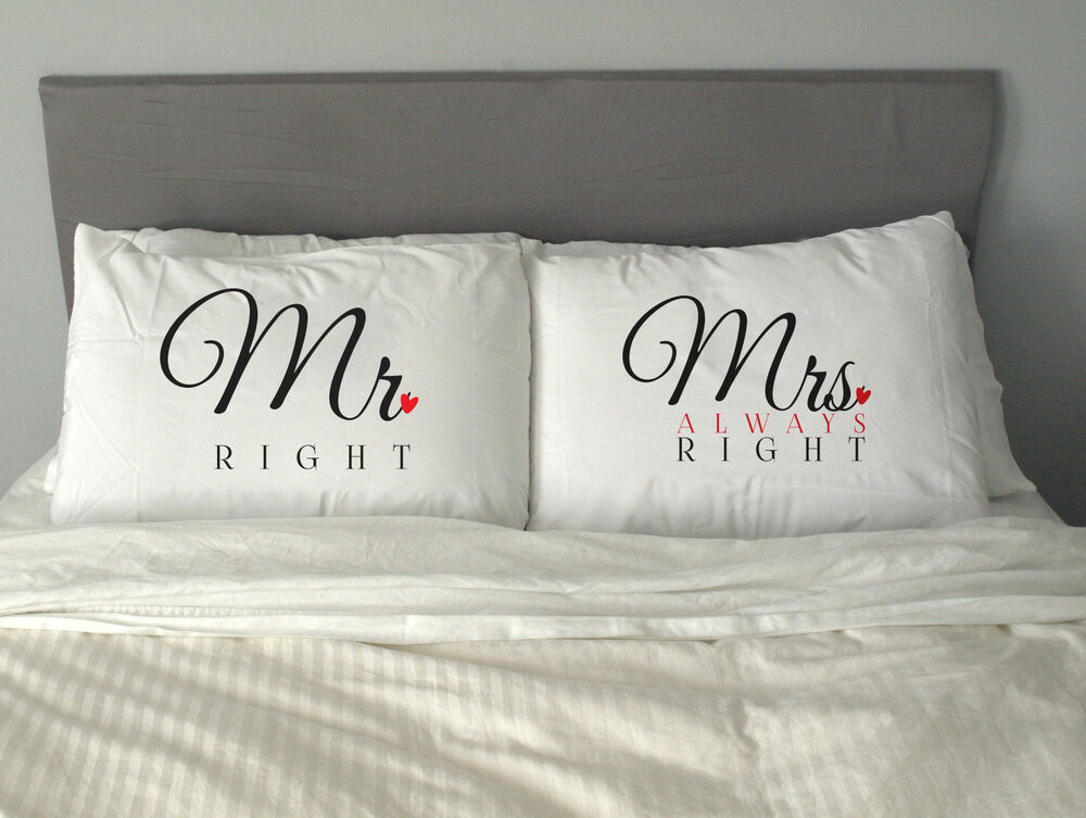 MRampMRS RIGHT Pillow Case Funny Christmas Gift Anniversary