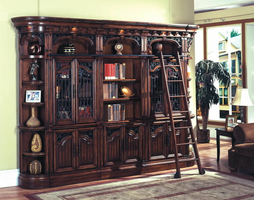 Barcelona Executive Library Wall Glass Doors Bookcase W