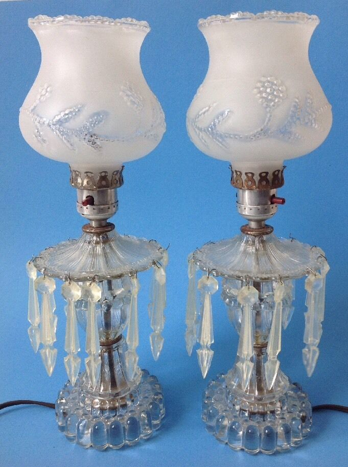 Antique Crystal Hurricane Lamps