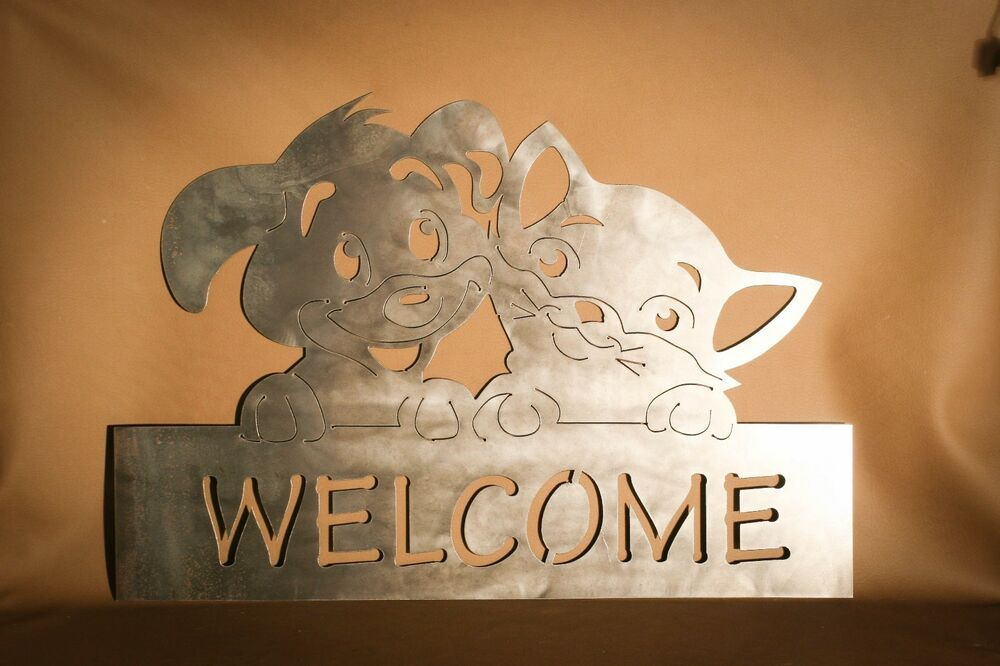 Adorable Cat And Dog Welcome Sign Plasma Cut Metal Wall