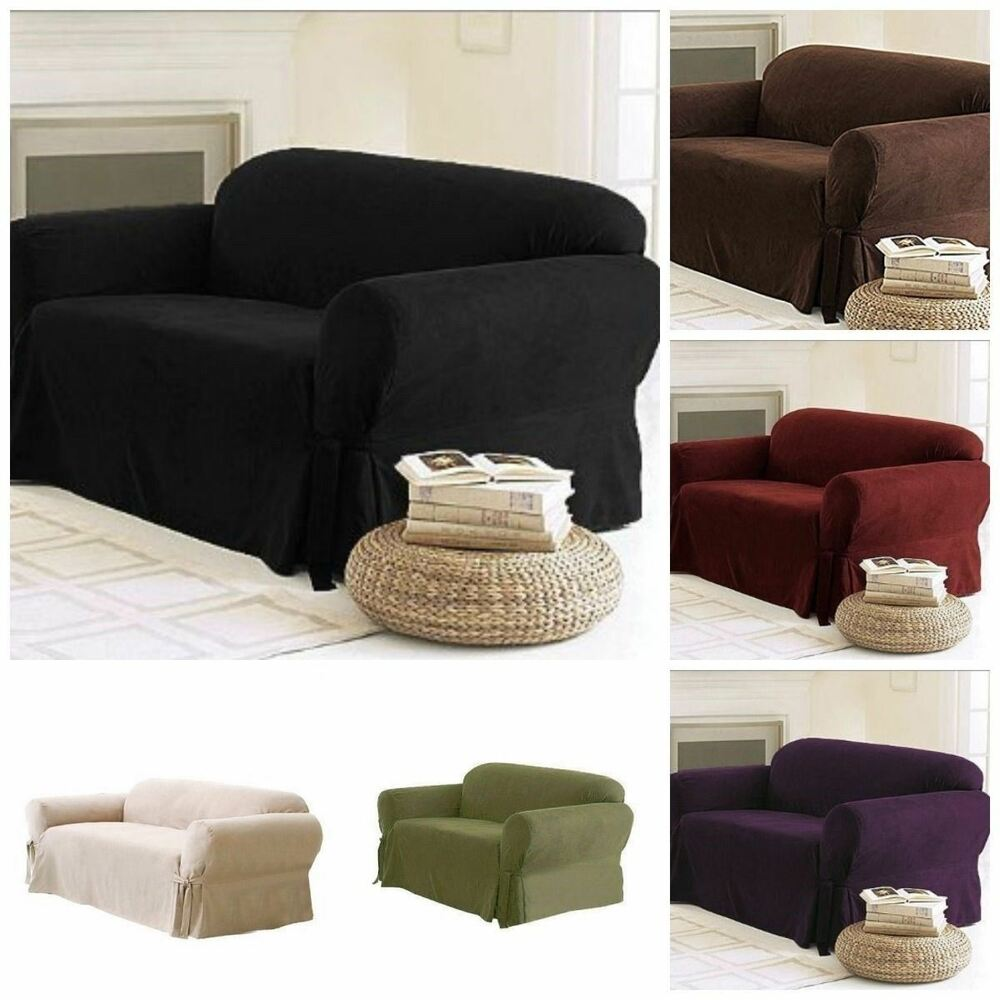 Soft Solid Micro Suede Sofa Loveseat Armchair Cover Slipcover 9 Colors EBay