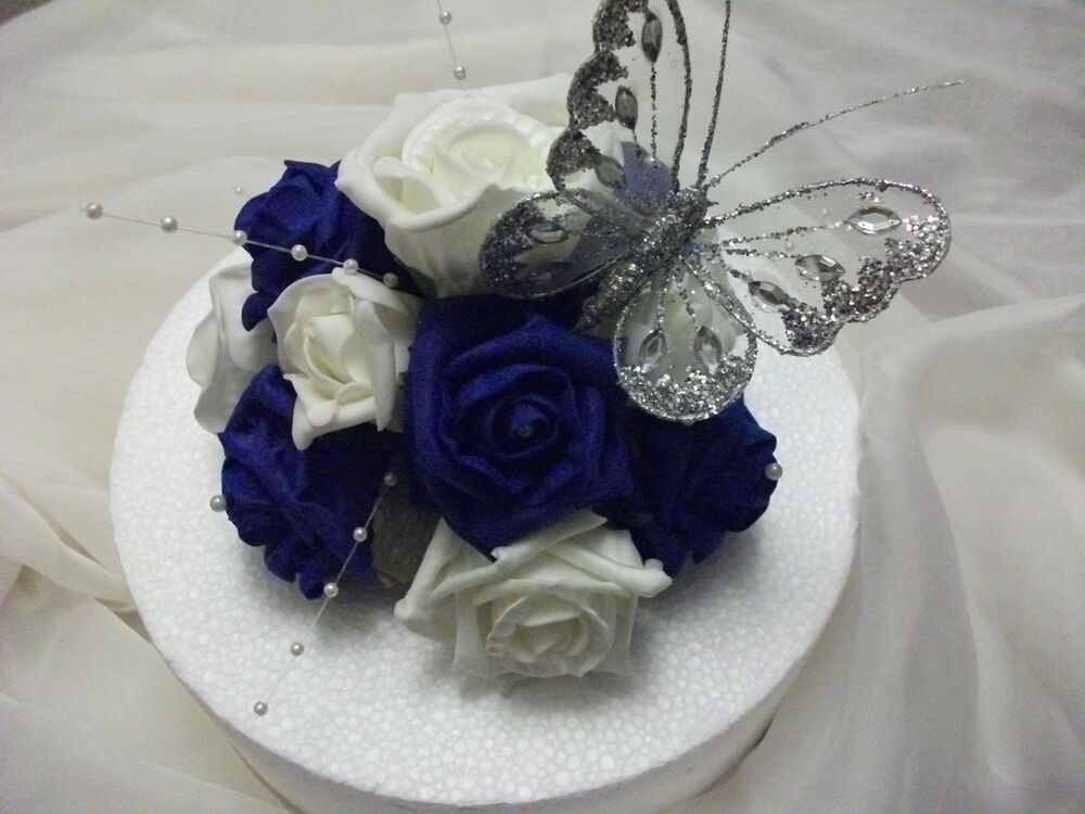 WEDDING FLOWER CAKE TOPPER, Royal Blue And Ivory With
