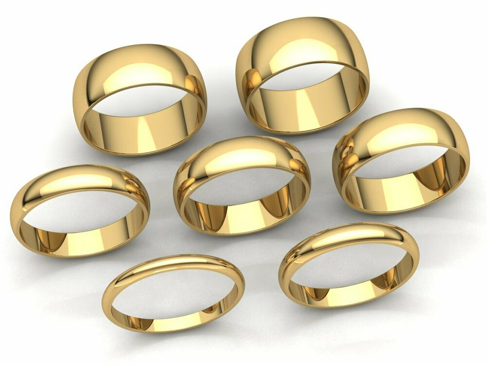 Domed Plain Band Ring Mens Womens 2mm 3mm 4mm 5mm 6mm 7mm 8mm Solid 18k Gold Ebay