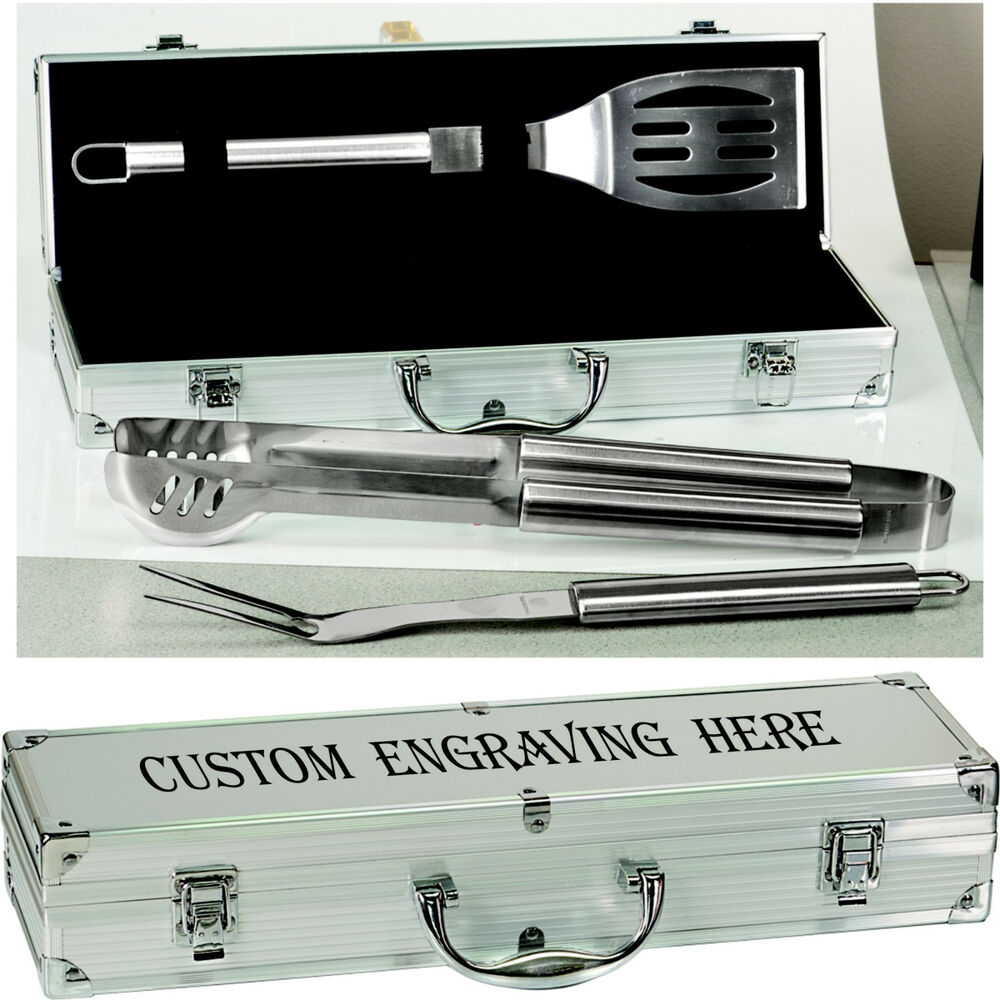 Personalized Aluminum BBQ Grilling Set Custom Engraved