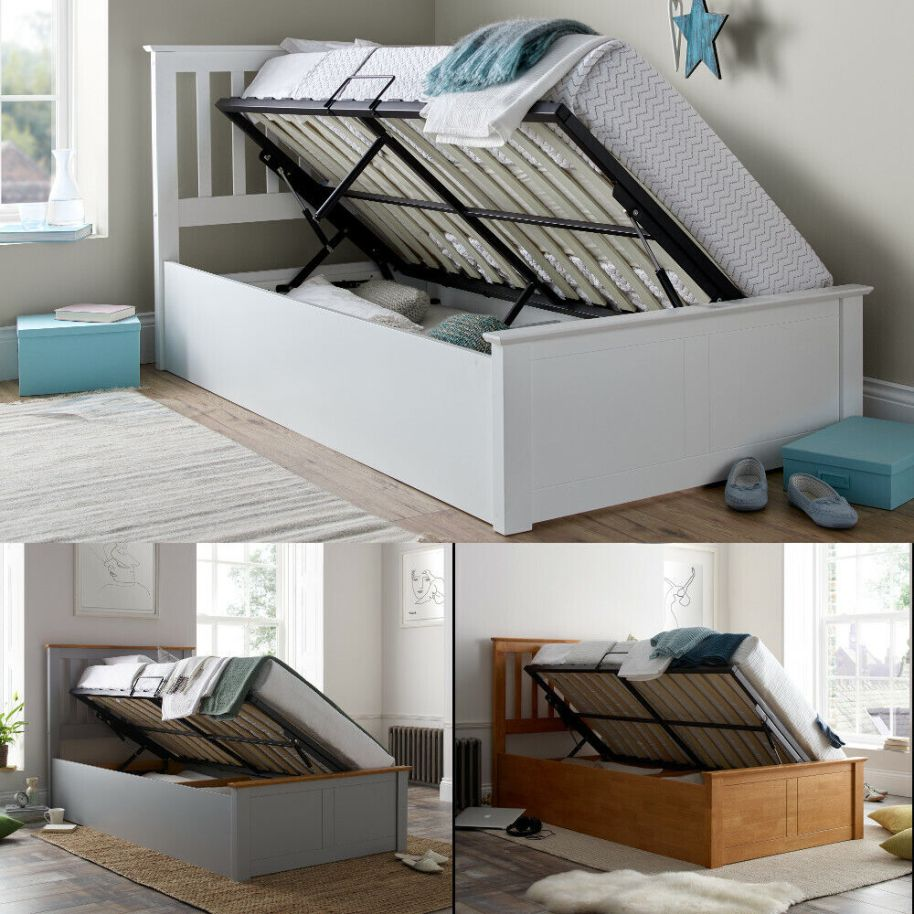 Francis White Wood Ottoman Storage Bed 3ft Single with 4 ...